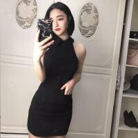 2018夏季新款韩版时尚女装无袖纯色修身显瘦露肩翻领包臀连衣裙潮