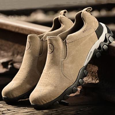 徒步鞋低帮套脚休闲皮鞋大码登山鞋男牛皮防水防滑户外休闲鞋