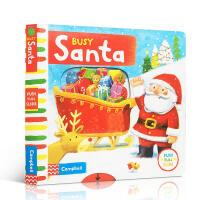英文原版Busy Santa忙碌的圣诞老公公 Busy系列操作活动机关纸板书 圣诞节日庆典绘本儿童游戏主题绘本益智启蒙