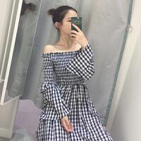 春季新复古韩国甜美长袖一字肩长裙子气质宽松显瘦格子连衣裙
