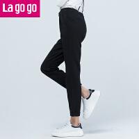 【商场同款】Lagogo/拉谷谷春季新款时尚直筒纯色高腰背带裤GAKK83G231