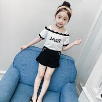 童装夏装女童套装洋气2018新款韩版儿童一字肩吊带T恤短裤两件套