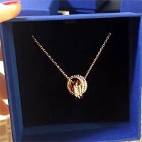 ?推荐新奥地利水晶专柜双环项链玫瑰金转运珠锁骨链5240525