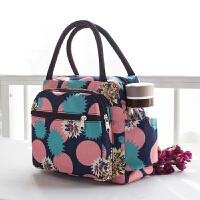 【妈妈包】女包帆布手提包加厚防水便当包妈咪小布包帆布手拎妈妈包午餐袋 乳白色 宝蓝斑花