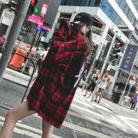 红黑格子2018秋装港风chic宽松中长款bf衬衣加绒加厚外套衬衫女潮 加绒