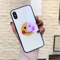 苹果7手机壳iPhone6蓝光玻璃壳8plus简约时尚6sp创意x新款男女