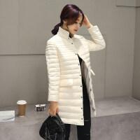 韩版立领单排扣轻薄羽绒服女中长款2018秋冬新款修身轻薄外套