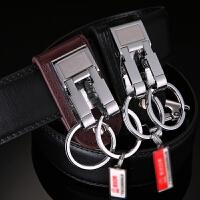 腰挂钥匙扣男 汽车钥匙圈穿皮带牛皮创意钥匙链创意礼品实用 送长辈 黑棕色 7.7*3*3cm