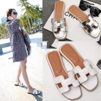 凉拖鞋女夏季韩版新款可爱时尚潮百搭室外穿学生平底海边休闲沙滩