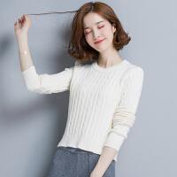 秋冬女士短款紧身毛衣女套头长袖低领修身百搭显瘦高腰针织打底衫