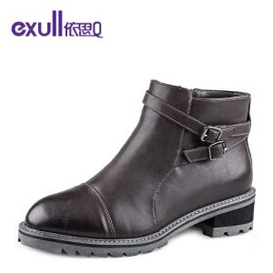 依思q冬季新款马丁靴粗跟中跟短靴子时尚皮带扣潮流女靴