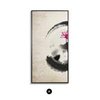 新中式装饰画客厅玄关走廊样板房壁画餐厅禅意水墨画两联组合挂画SN3293 60*120 单幅价格
