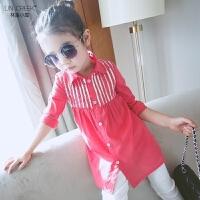 女童衬衫春装新款韩版儿童翻领尖领t恤衫宝宝上衣纯棉大童打底衫