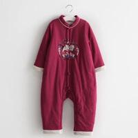 宝宝连体衣冬棉加厚婴儿外穿6-12个月保暖外出服汉服男童秋冬哈衣