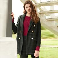 冬装新品 西装领格纹羊毛外套中长毛呢大衣女D741030D10