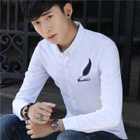 春季新款男士长袖衬衫韩版修身免烫印花衬衣青年男装休闲寸衫