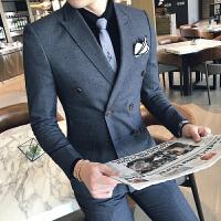 新品18秋冬装男士潮流双排扣档西服套装韩版英伦修身新郎结婚三件