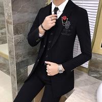 新品18春秋款男士韩版修身中长款西服套装潮流青年男式休闲西装三