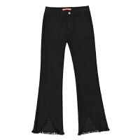 女裤2018春夏新款黑色微喇牛仔裤女九分不规则流苏毛边