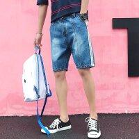 17夏季新款潮男士休闲短裤 白色镶边装饰青少年松紧腰5分裤子