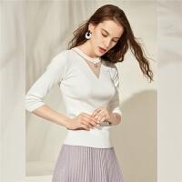 针织衫女季新款韩版修身七分袖上衣百搭显瘦镂空时尚毛衣