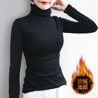 黑色高领加绒打底衫女士长袖2018新款修身保暖堆堆领棉T恤内搭厚