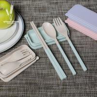 创意小麦秸秆餐具三件套 学生便携餐具套装 折叠勺叉筷开学专用