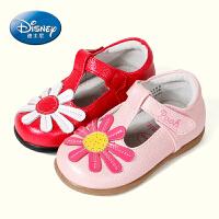 迪士尼小熊维尼学步鞋2016年春秋牛皮舒适花朵1-6岁女宝宝休闲小皮鞋