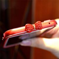 苹果iPhone6S7plus8手机壳保护硅胶金属边框水钻蝴蝶结红