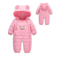 冬装婴儿羽绒棉服连体衣新生儿抱被婴幼儿童爬服男女宝宝连身哈衣