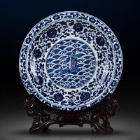 陶瓷青花装饰盘赏盘家居客厅玄关瓷器装饰品中式摆件工艺品