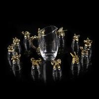 十二生肖白酒杯创意水晶玻璃兽首烈酒一口杯商务礼品酒具套装 +分酒器