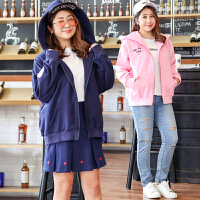 韩版大码女装秋冬新款加肥加大运动休闲字母刺绣连帽外套上衣