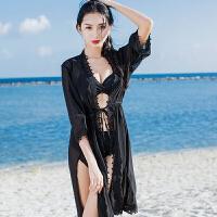 2018新款性感泳衣女分体比基尼三件套长裙开衫温泉韩国小香风小胸聚拢泳装
