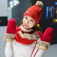 女士帽子围巾手套三件套冬韩版秋冬天可爱保暖针织套装女士毛线帽子围脖手套三件套生日礼 (红色)两圈围脖三件套