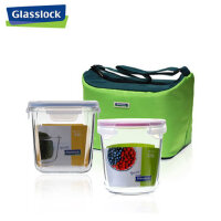 韩国三光云彩GLASSLOCK钢化玻璃饭盒 微波 装汤保鲜盒 奶粉罐两件套 带保温提包 送不锈钢饭勺