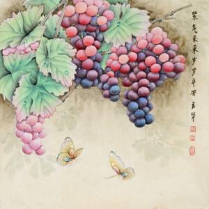《紫气东来 岁岁平安》精品工笔葡萄,中国女工笔画协会委员【R918】