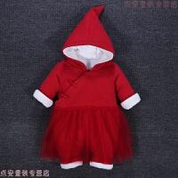 女婴儿冬装连体衣服圣诞节加厚外出公主宝宝中国风大红色过年喜庆