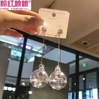 注水心形透明玻璃球圆球耳环长款吊坠耳坠女网红潮人韩国气质耳饰
