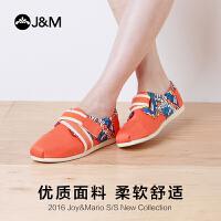 JM快乐玛丽夏季潮欧美设计师涂鸦魔术贴平底帆布鞋休闲女鞋77129W