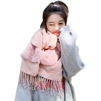 韩版围巾女秋冬季简约款加厚保暖两用披肩百搭学生毛绒口袋围脖