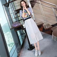 夏装2018新款女韩版字母印花网纱连衣裙两件套学生套装裙子女夏天