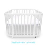 双胎婴儿床双胞胎婴儿床双人宝宝床实木多功能欧式bb拼接大床新生儿白色圆床