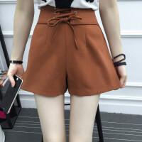 热裤夏季女士加大码高腰阔腿短裤女夏宽松胖mm绑带休闲显瘦200斤 4X