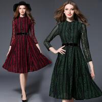 春装新款显瘦长袖中长款蕾丝连衣裙欧洲站名媛时尚气质女装潮