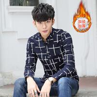 男士保暖衬衫韩版冬季新款修身男装加绒加厚休闲纯棉免烫衬衣