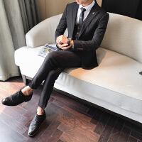新款男秋冬季复古西服套装男英伦帅气条纹职业装修身工作服西装三