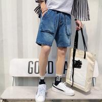 牛仔短裤男夏季宽松五分5分裤加大口袋学生工装裤子胖子中裤薄款