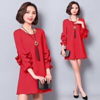 欧洲站女装2018春装新款高端七分袖显瘦A字裙宽松红色连衣裙