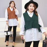 胖mm加肥加大码女装秋冬新款时尚套装V领背心衬衣韩版两件套